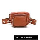 RABEANCO INA牛皮T型鏈條寬背帶斜背/腰包(小) 淺咖