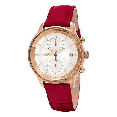 Folli Follie浪漫羅馬典雅皮革腕錶-紅(WF18R005SEZ-RE)