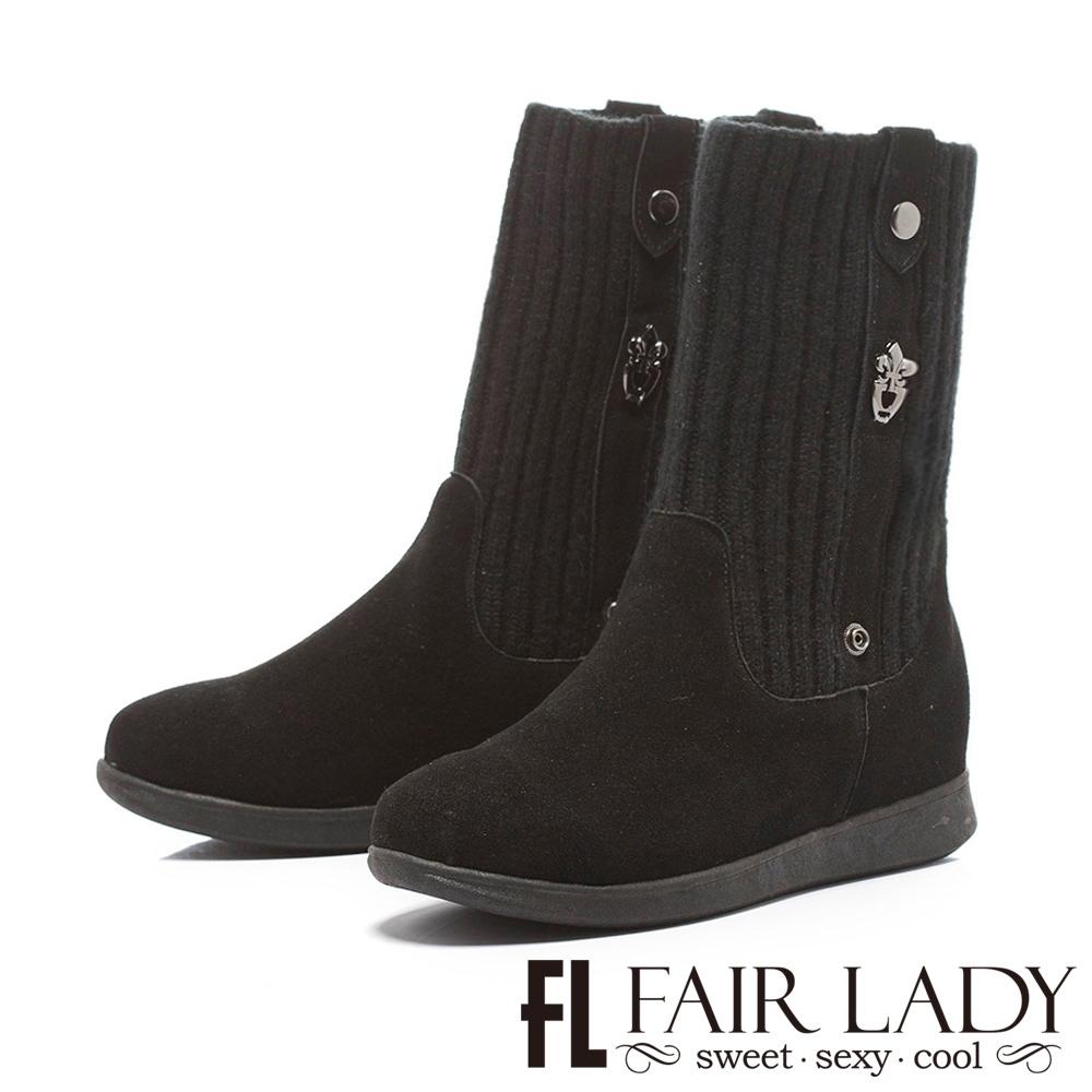 Fair Lady 羅紋拼接麂皮2way厚底短靴 黑