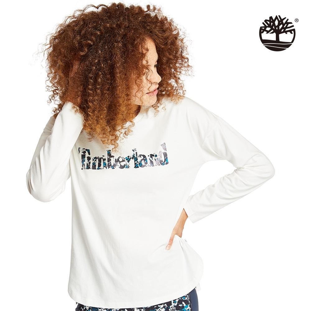 Timberland 女款白色LOGO長袖圓領上衣 B5503