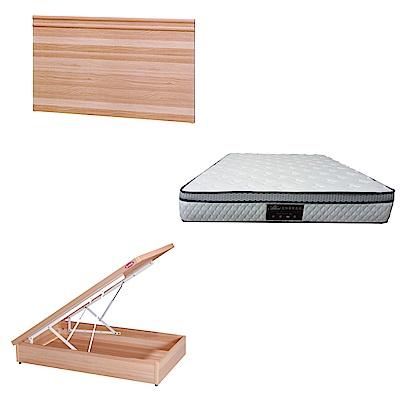 綠活居 可娜3.5尺單人床台三式組合(床頭片+後掀床底+正三線防蹣獨立筒)五色可選