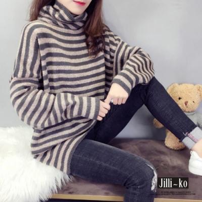 JILLI-KO 韓版經典條紋寬鬆高領針織上衣- 卡