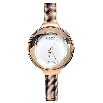 JULIUS聚利時 繽紛時代米蘭錶帶腕錶-氣質白/30mm