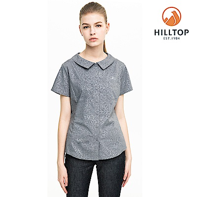 【hilltop山頂鳥】女款吸濕快乾抗UV彈性壓花短袖襯衫S06F60黑美人