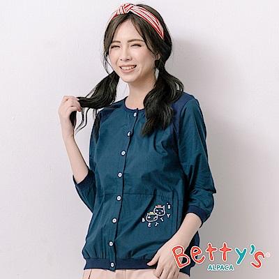 betty's貝蒂思 貓咪印花拼接七分袖上衣(深藍)