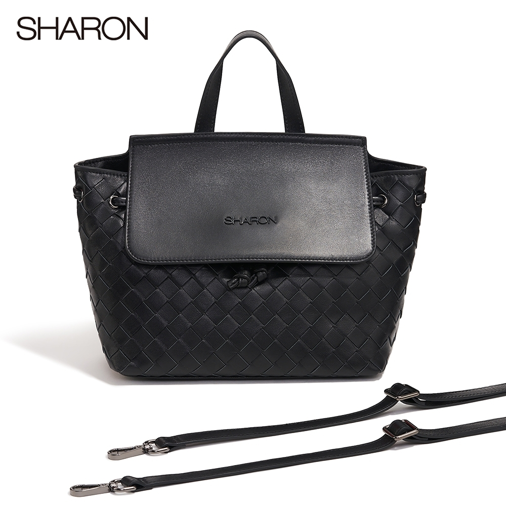 【SHARON 雪恩】Joy小羊皮編織兩用肩背/後背包(黑色72044BK)