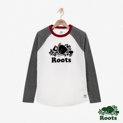 Roots 女裝-BUDDY長袖棒球T恤-灰