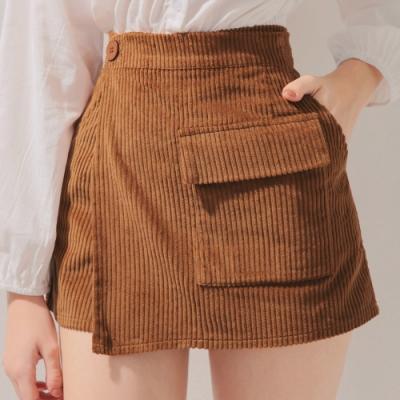 AIR SPACE 質感燈芯絨口袋褲裙(咖啡)