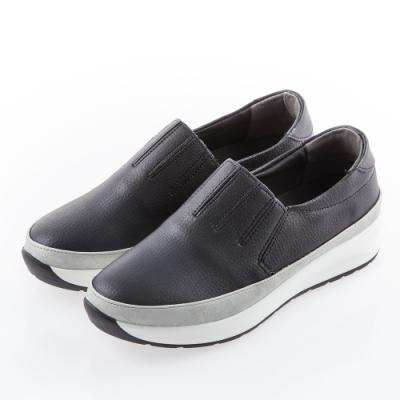 Camille's 韓國空運-正韓製-百摺牛皮懶人內增高厚底休閒鞋-黑色