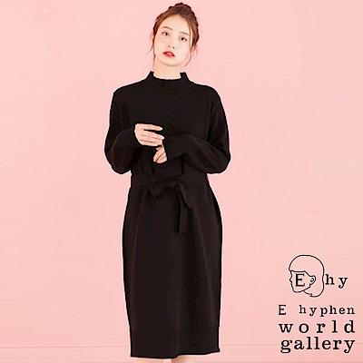 E hyphen 知性高領綁帶針織連身裙