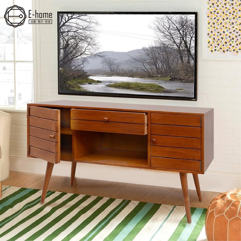 E-home Garland葛蘭德一空單抽雙門全實木多媒體收納電視櫃-兩色可選 120x40x80