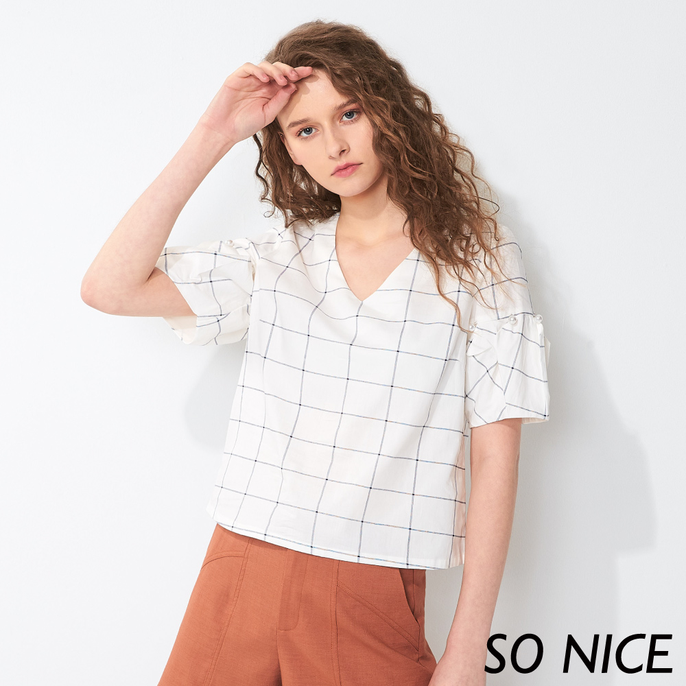 SO NICE簡約格紋造型袖上衣