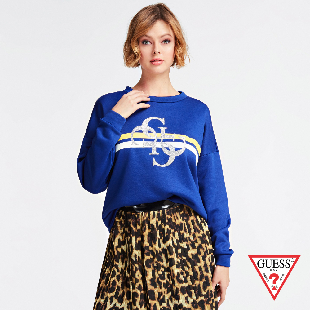 GUESS-女裝-閃亮LOGO落肩長袖上衣-藍 原價2290