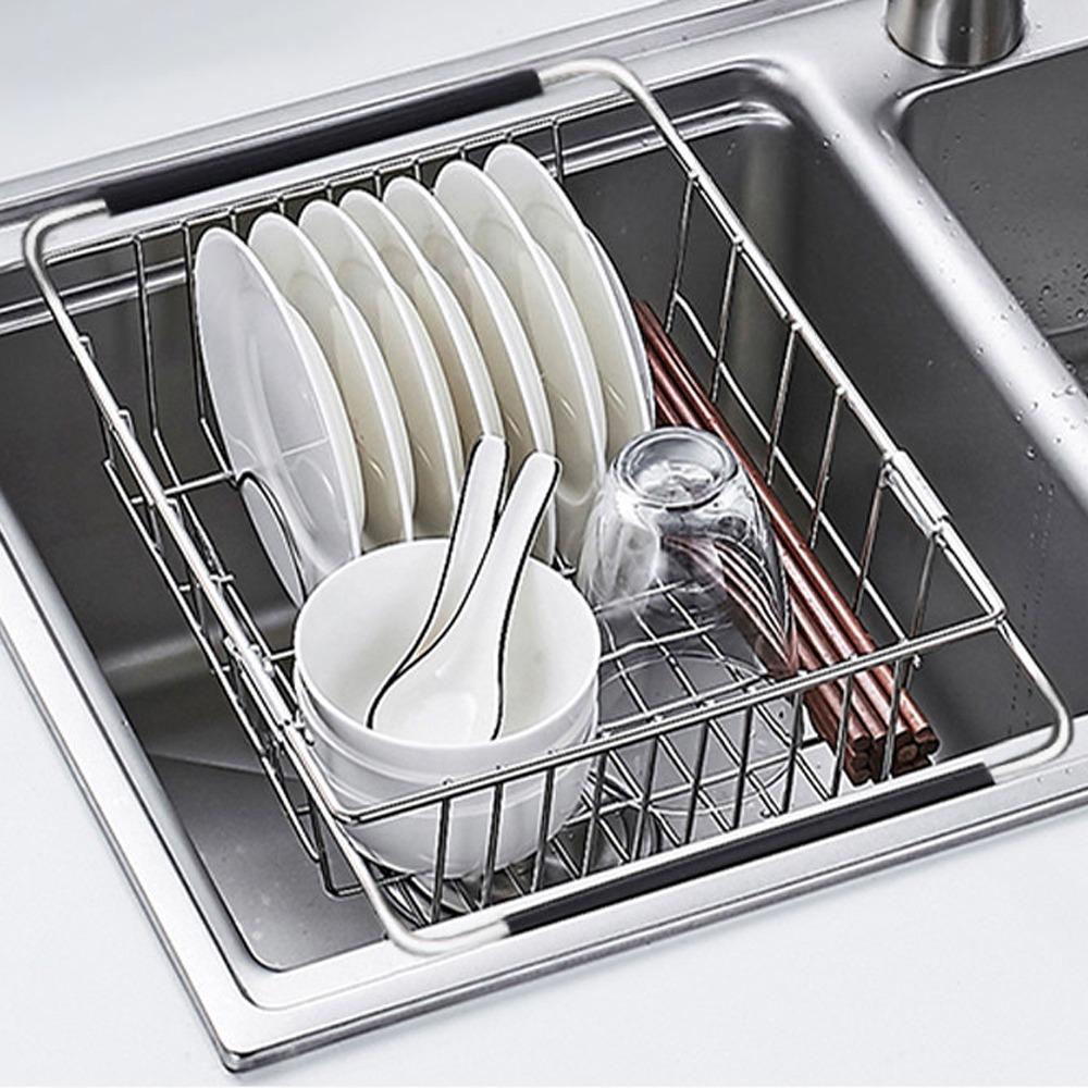 AA026 不鏽鋼伸縮式碗盤瀝水架 304不鏽鋼置物架瀝水籃 碗碟收納架 滴水籃滴水架