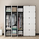 【Mr.Box】25格25門5掛 深47cm百變組合衣櫥收納櫃(黑白款)