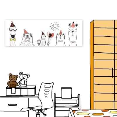 【24mama 掛畫】單聯式 鑽石膜 動物 小孩房 親子餐廳 仙人掌 貓咪 羊駝 樹懶 安親班 無框畫 80x30cm(動物園遊會)