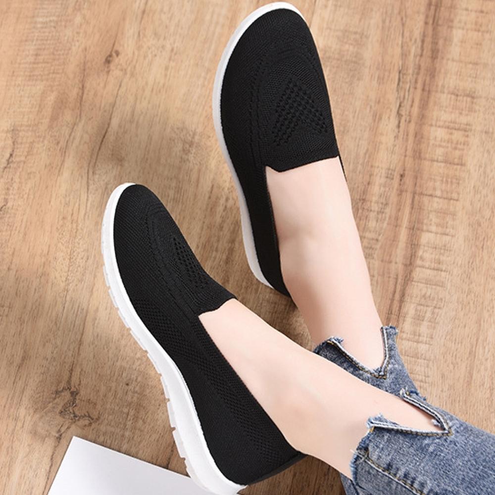 LN 現+預 韓版透氣飛織軟底懶人鞋(懶人鞋/運動鞋/休閒鞋) (黑色)
