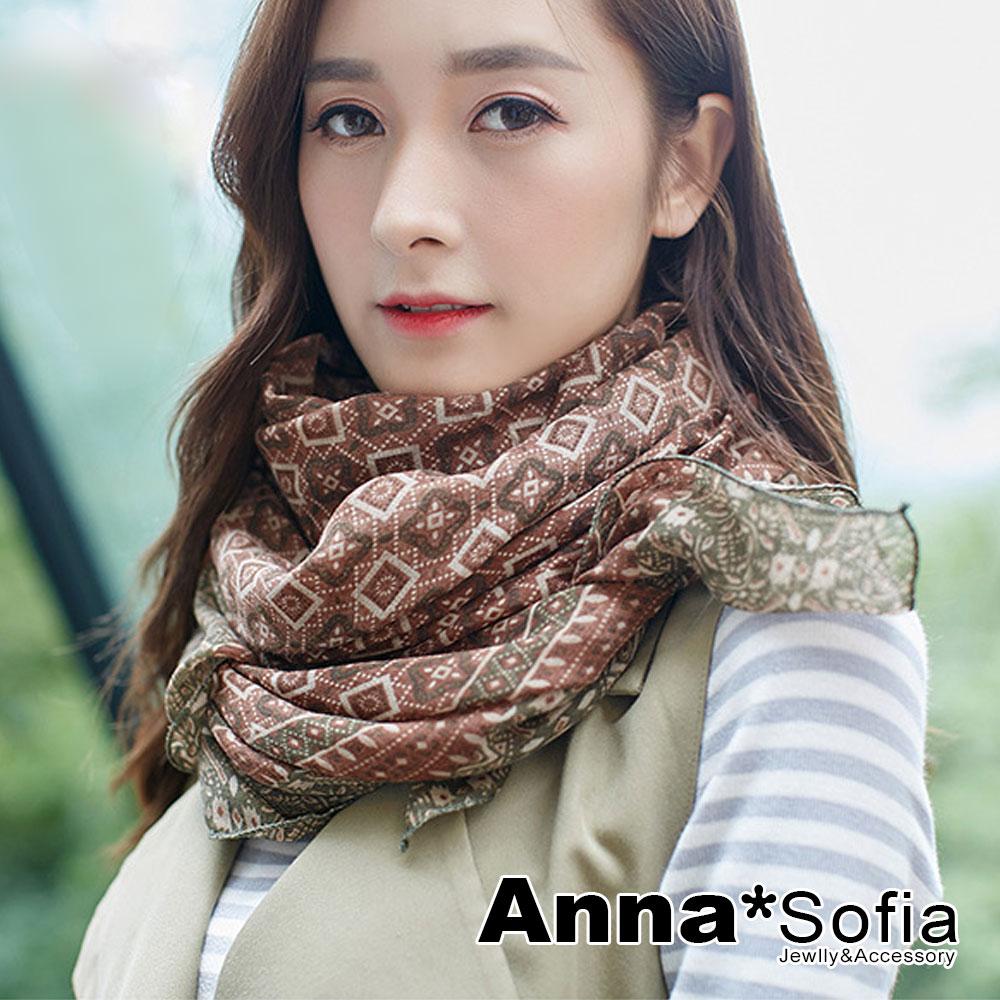 AnnaSofia 古典續宓藤 拷克邊韓國棉圍巾披肩(咖綠系)