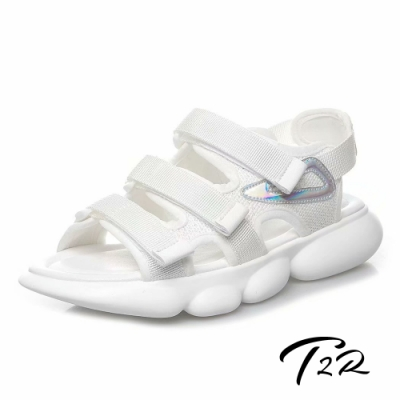 T2R 正韓空運-2019夏季新款魔鬼氈厚底運動涼鞋-微增高4cm-白
