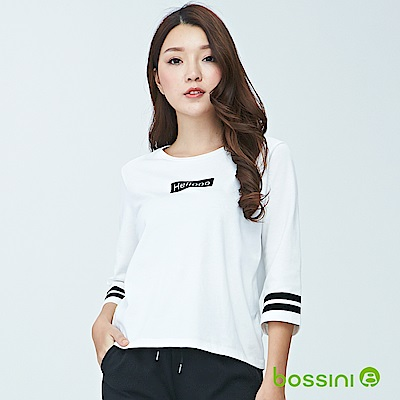 bossini女裝-圓領七分袖上衣02灰白