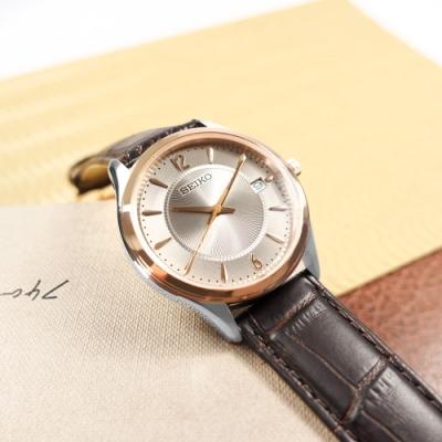 SEIKO 精工 放射狀錶盤 藍寶石水玻璃 日期 壓紋牛皮手錶-鈦色x紅褐色/39mm