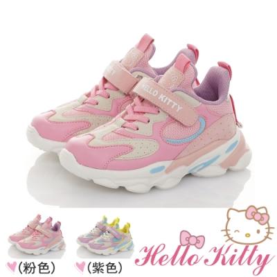 Hello Kitty童鞋 輕量緩衝透氣抗菌防臭吸震運動鞋-粉.紫色