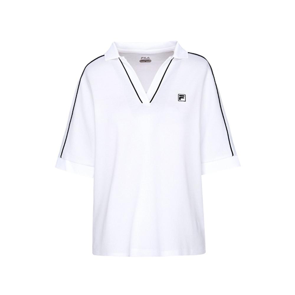 FILA 女抗UV吸濕排汗POLO衫-白色 5POV-1007-WT