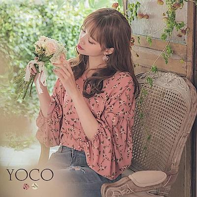 東京著衣-YOCO 浪漫甜心滿版碎花公主澎袖短版上衣-S.M.L(共兩色)