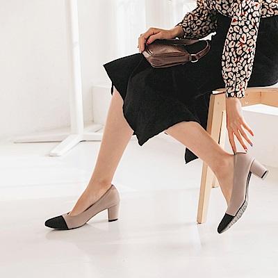台灣製造.小香風氣質拼接尖頭鞋-OB大尺碼