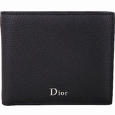 Dior 黑色頂級小牛皮極簡八卡短夾