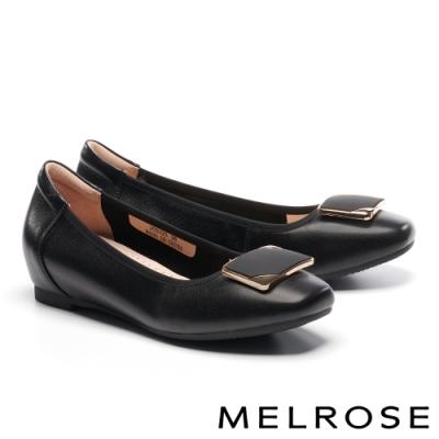 低跟鞋 MELROSE 氣質時尚金屬飾釦造型內增高全真皮低跟鞋-黑