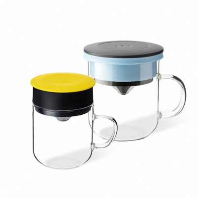【PO:Selected】丹麥2入組手沖咖啡(咖啡玻璃杯350ml-黑藍)+(咖啡玻璃杯240ml-黃)