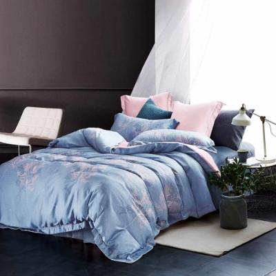 Saint Rose頂級精緻100%天絲床罩八件組(包覆高度35CM)-葉暖-藍 加大