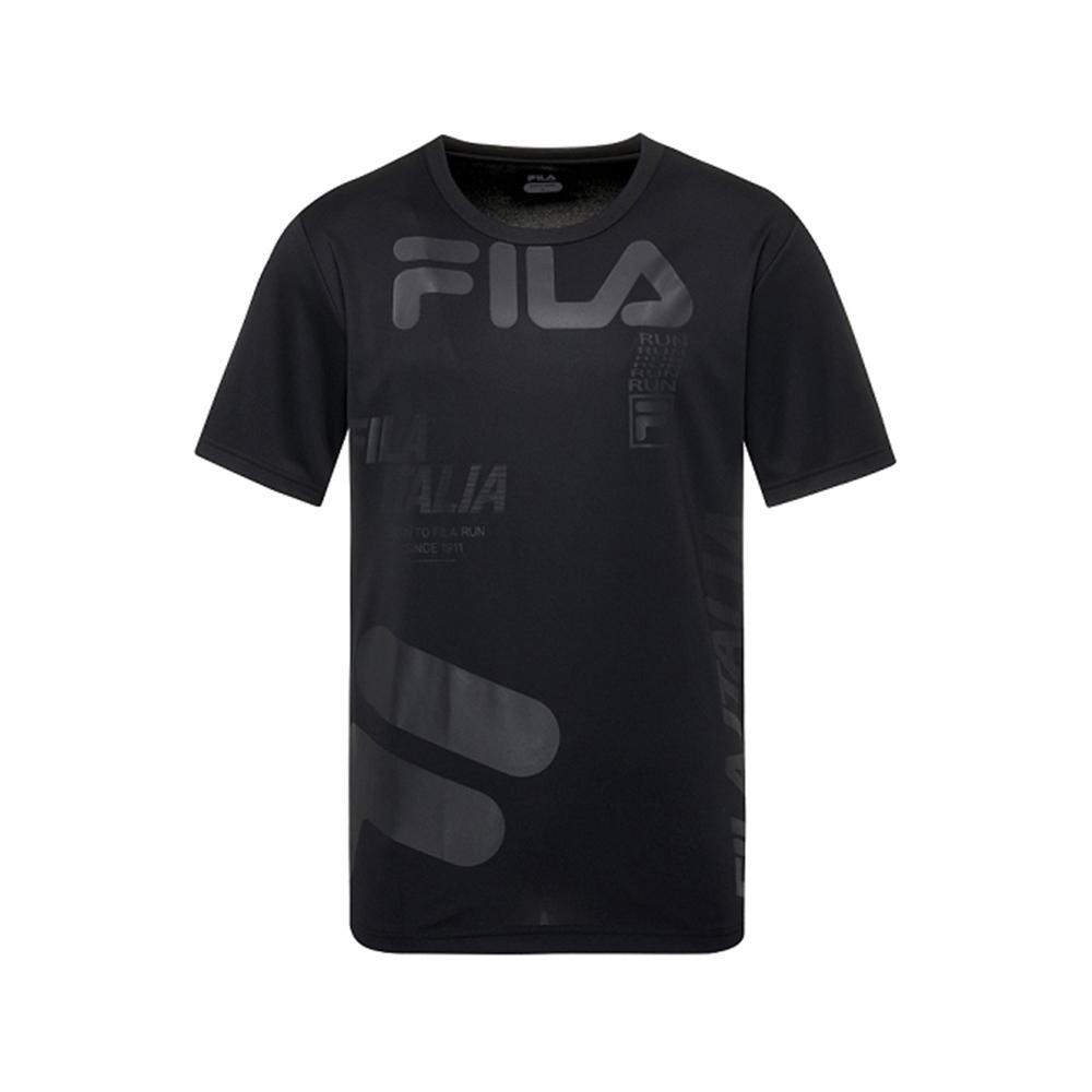FILA 男抗UV吸濕排汗T恤-黑 1TEV-1303-BK