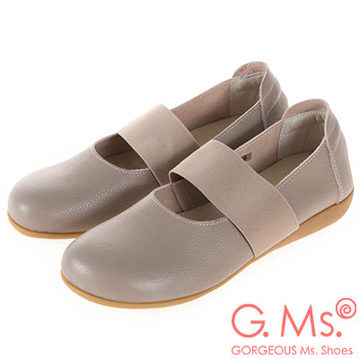 G.Ms. MIT系列-牛皮鬆緊帶圓頭平底休閒鞋-可可