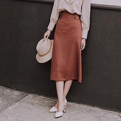 純色排釦寬版造型鬆緊收腰A字長裙-OB嚴選