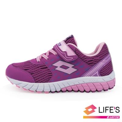 LOTTO 義大利 童 雙色動力  雙密度避震跑鞋 (紫)