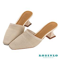 Robinlo 復古女伶金蔥閃爍低跟穆勒拖鞋 米白