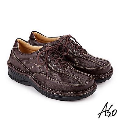 A.S.O 抗震雙核心 綁帶奈米氣墊休閒皮鞋深咖啡