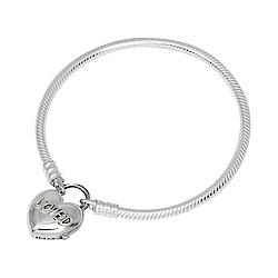 Pandora 潘朵拉 愛心刻字LOVED鎖頭造型925純銀手鍊手環