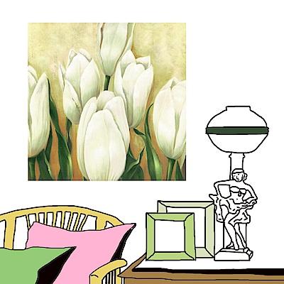 橙品油畫布 單聯 時尚無框畫掛畫-白色花卉 50x50cm