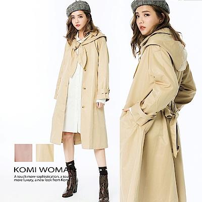 【KOMI】英國風可拆式帽子風衣外套‧有裡(二色)