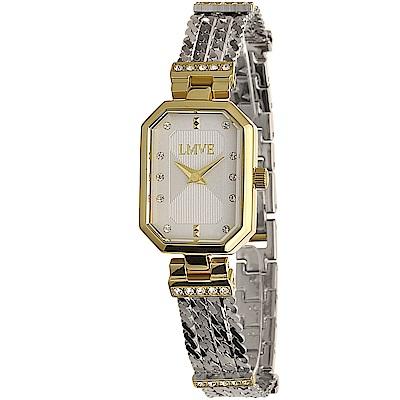 LMVE 簡約雅致晶鑽方形時尚腕錶-銀白/26mm