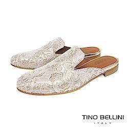 Tino Bellini 義大利進口歐式蕾絲提花平底穆勒鞋 _ 淺金