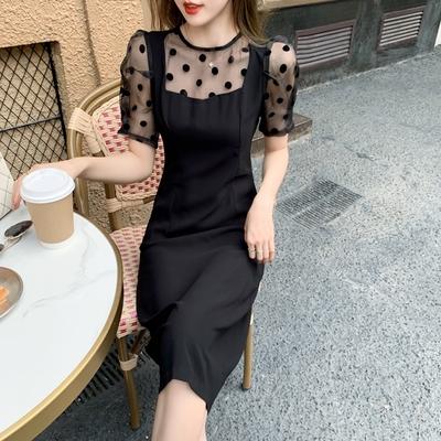 小性感波點網紗半透拼接收腰洋裝S-XL(共二色)-Dorri