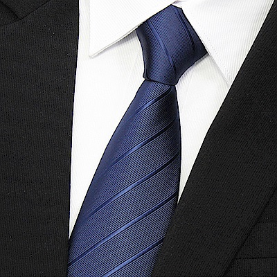 拉福 歐美領帶8cm寬版領帶拉鍊領帶(兒童藍斜.黑斜)