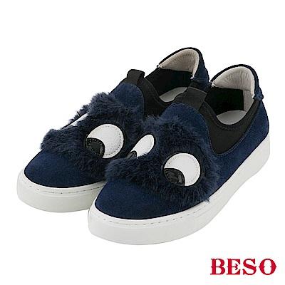 BESO 可愛毛怪 立體大眼睛休閒鞋~藍