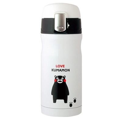 日本熊本熊KUMAMON彈跳按鈕鎖不鏽鋼真空斷熱保溫瓶330ml保溫杯子K12920(正版日本平行輸入)