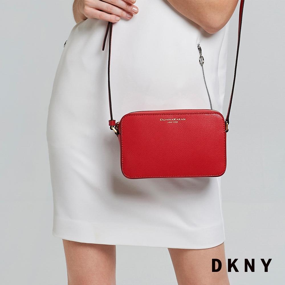DKNY LOGO簡約牛皮斜背包 紅