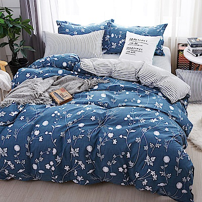 La Lune 台灣製經典超細雲絲絨雙人兩用被單人床包枕套3件組 新月花開